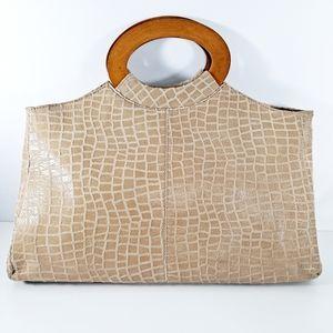 Lucien Piccard Tan Crocodile Leather Handbag